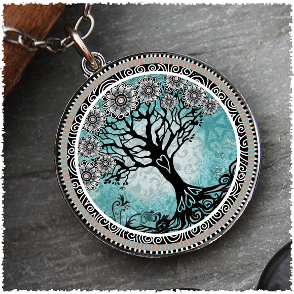 Tree of Life Teal Reversible Circular Pendant