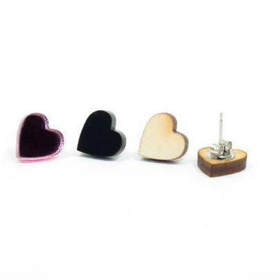 Heart Wood Earring