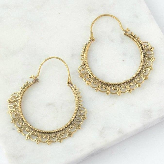 Fair Trade Intricate Hoop Earring