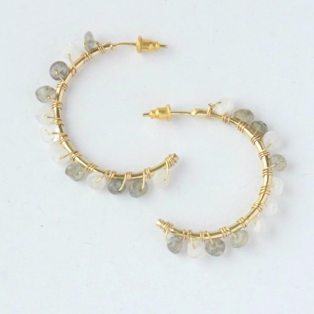 Labradorite and Moonstone Semi Hoops