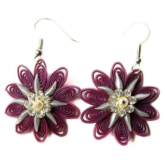 Upcycled Purple Floral Earring