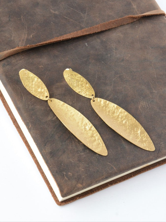 Fair Trade Oblong Brass Leaf Earring