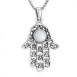 Hamsa with Mother of Pearl Silver Necklace