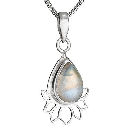 Moonstone & Lotus Silver Necklace