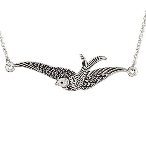 Flying Sparrow Silver Necklace