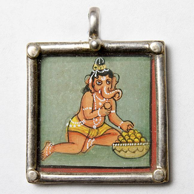 Ganesh Painted, Silver & Glass Pendant