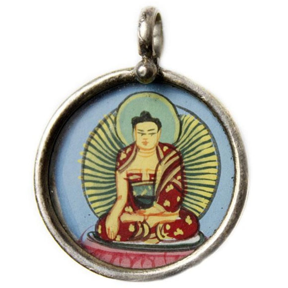 Hand Painted Silver Blue Buddha Pendant