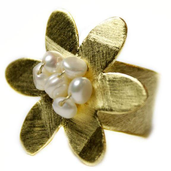 Gold Plated Flower & Pearl Ring