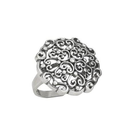 Flower Scroll Silver Ring