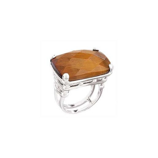 Tiger's Eye Large Rectangular Silver Ring
