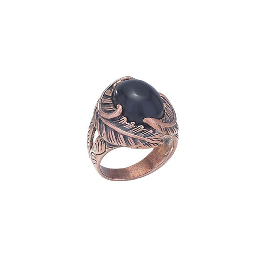 Black Onyx & Copper Leaf Ring
