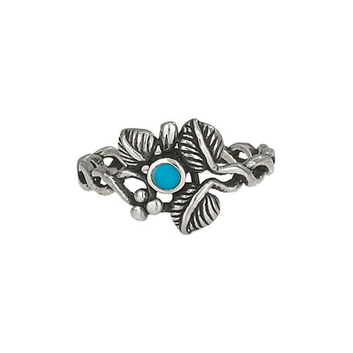 Turquoise and Leaf Silver Ring