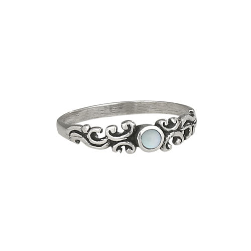 Mother of Pearl Scroll Silver Ring