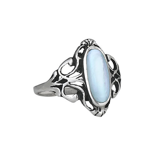 Oval Mother of Pearl Silver Ring