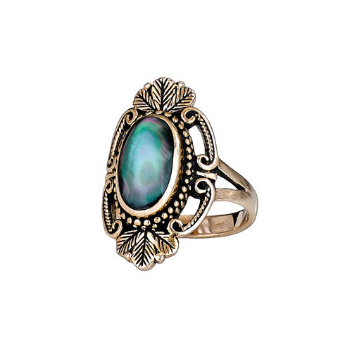 Mother of Pearl Shell & Leaf Bronze Ring
