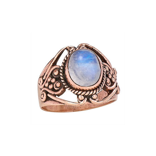 Copper and Oval Moonstone Ring