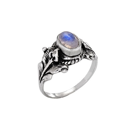 Moonstone with Vines Silver Ring