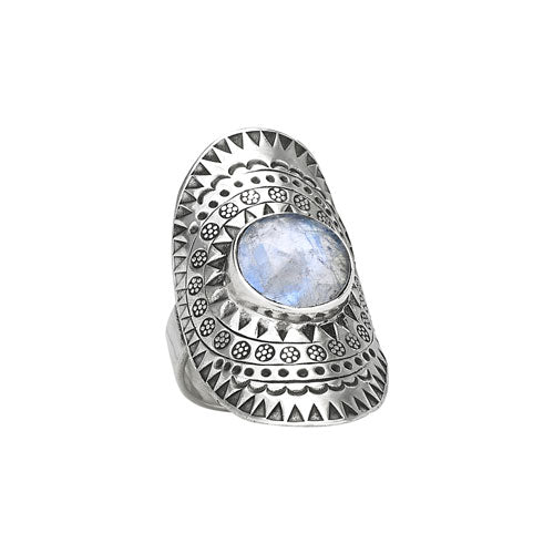 Moonstone Shield Silver Ring