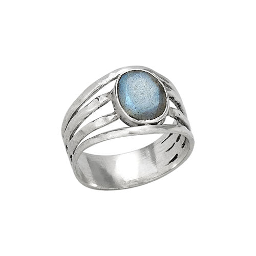Faceted Oval Labradorite Silver Ring