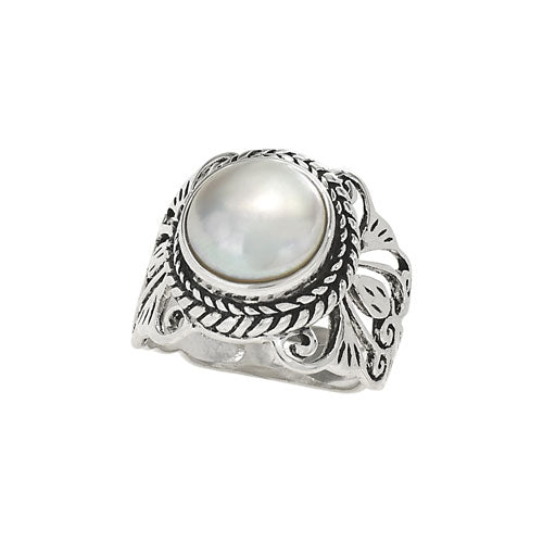 Pearl & Intricate Silver Ring