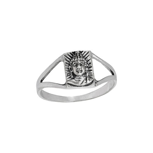 Buddha Face Silver Ring