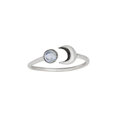 Moon & Moonstone Silver Ring