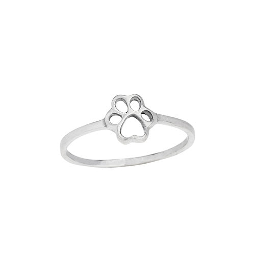 Open Paw Print Silver Ring