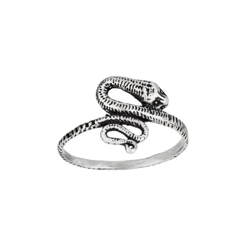 Poised Snake Silver Ring