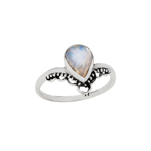 Moonstone Teardrop & Silver Ring