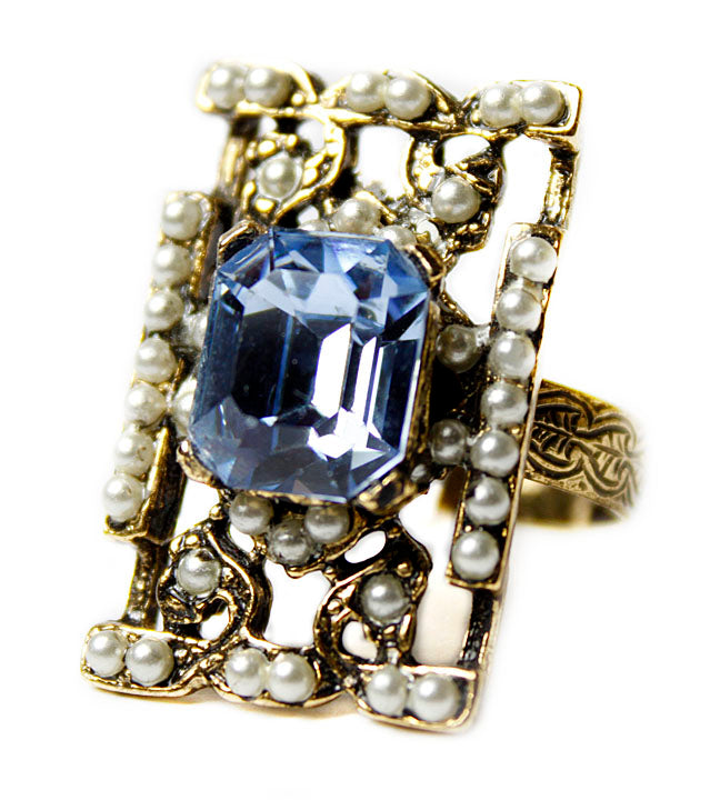 Art Deco Blue Crystal Ring