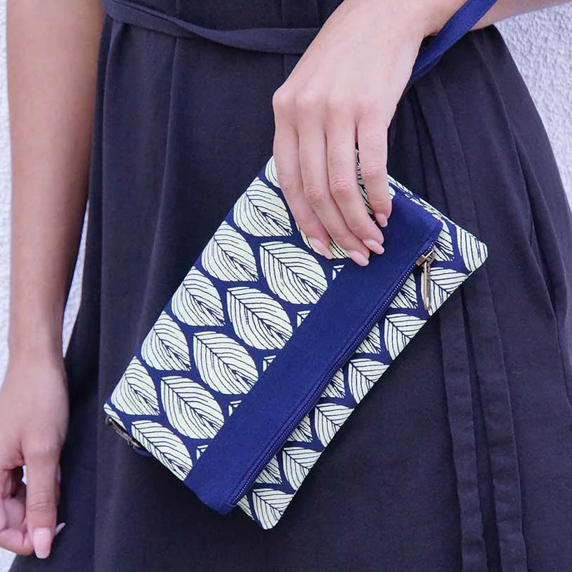 Navy Leaf Convertible Clutch