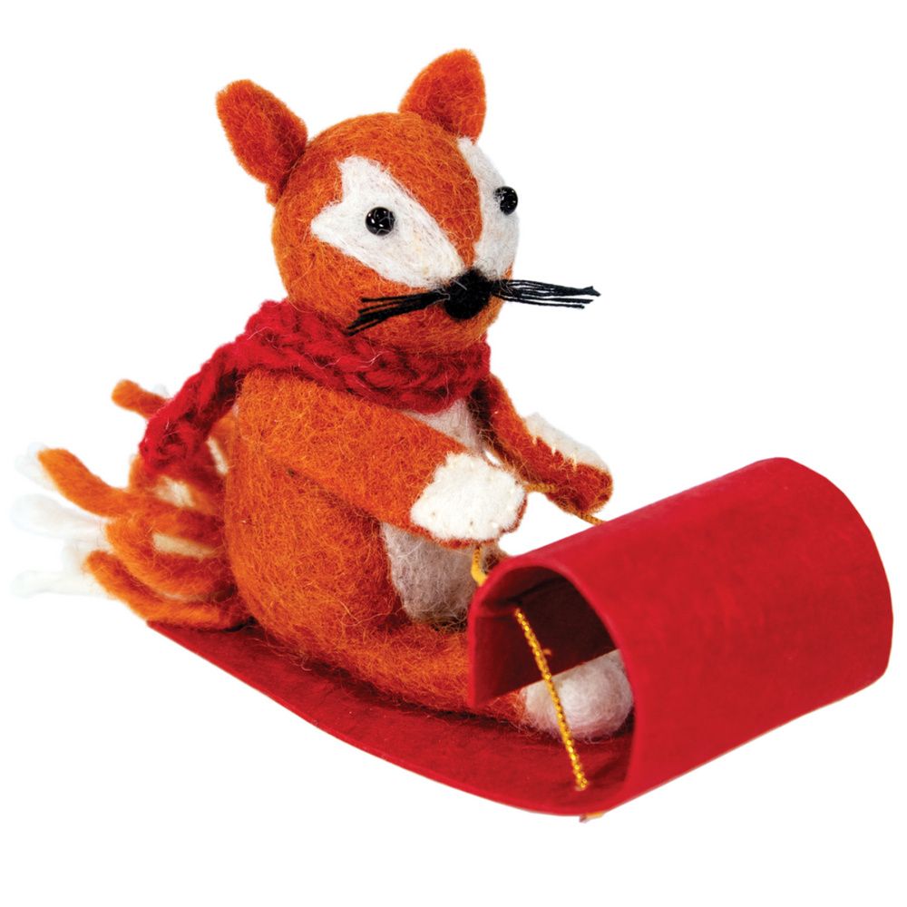Fair Trade Toboggan Fox Ornament