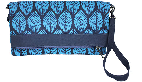 Blue Leaf Convertible Clutch