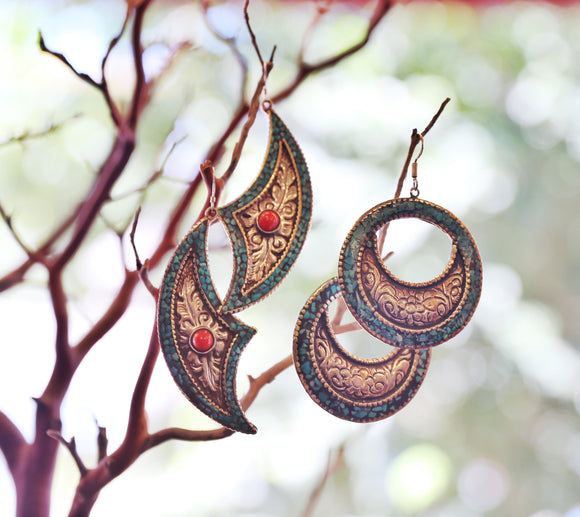 Nepalese Earrings with Gemstones