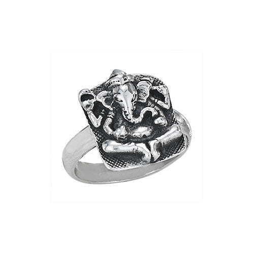 Silver Square Ganesh Ring