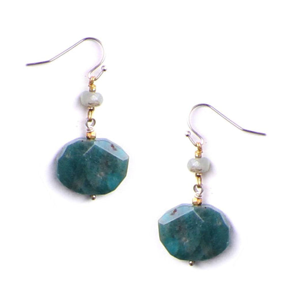 Amazonite Faceted Drop Earrings