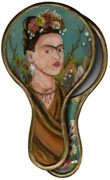 Frida Painted Glass Hand Mirror