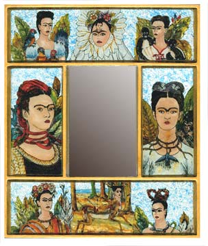 Frida Painted Foil Mirror