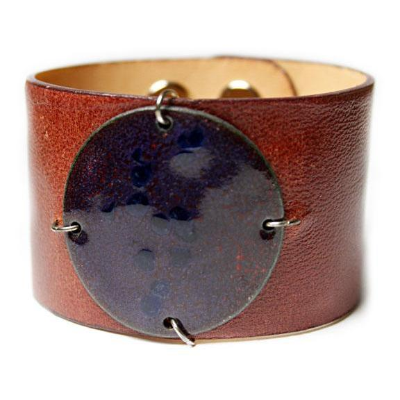 Enamel Disk Taupe Cuff