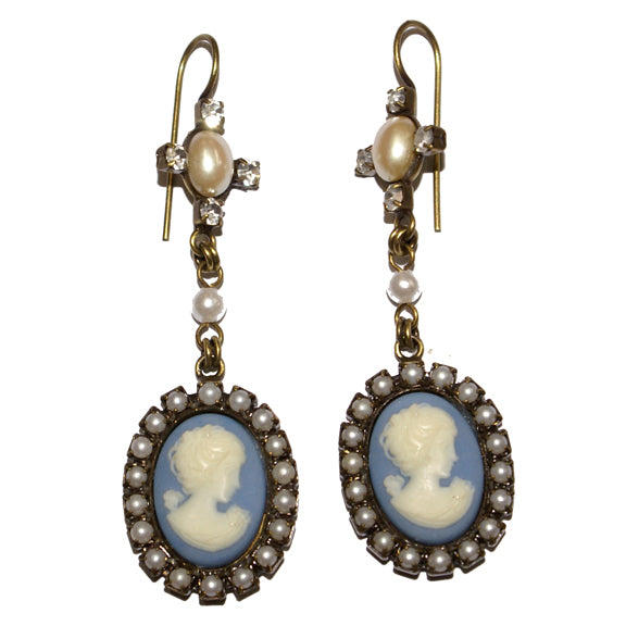 Upcycled Blue Cameo Earring