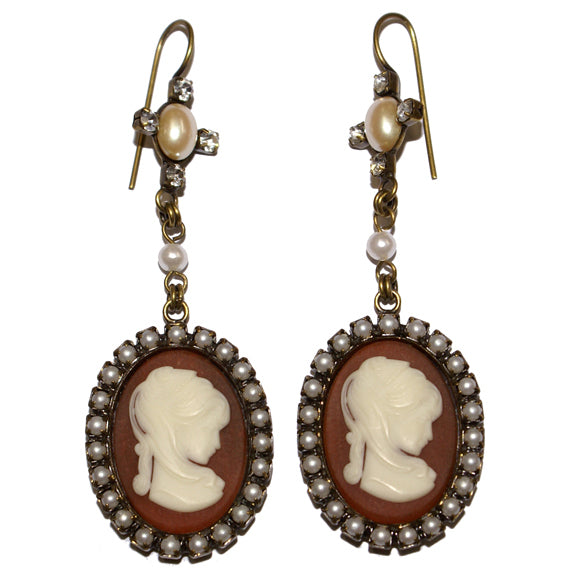 Upcycled Maroon Cameo Earring