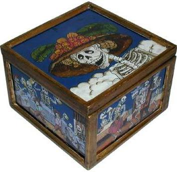 Painted Glass Catrina Box