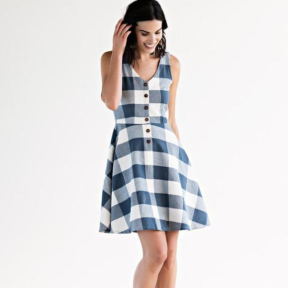 Midsummer Dream Dress Blue Plaid