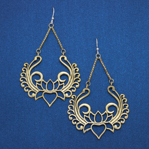 Lotus Brass Drop Earring