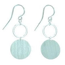 Brushed Disc Silver Earring