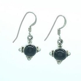 Black Onyx Drop Silver Earring