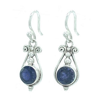 Iolite Faceted Silver Earring