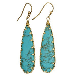 Turquoise & Brass Earring