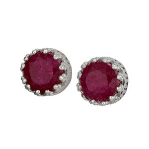 Ruby Faceted Silver Stud Earring