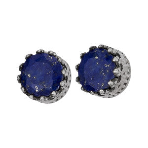 Lapis Faceted Silver Stud Earring